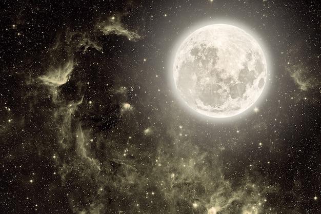 Achtergrond nachtelijke hemel met sterren en maan