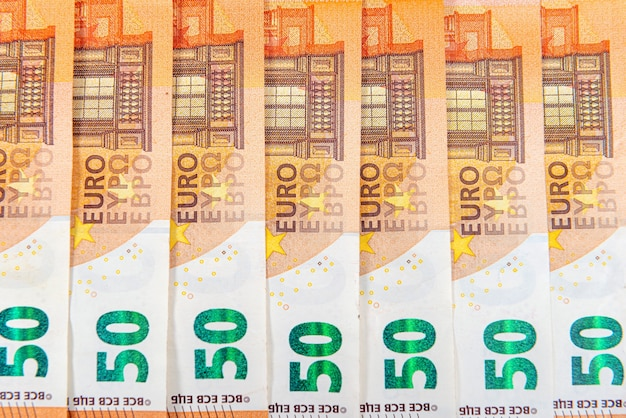 Achtergrond van 50 eurobankbiljetten, eurobankbiljetten als onderdeel van het economische en handelssysteem, close-up