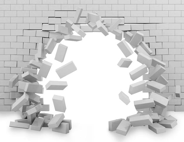 Achtergrond van een doorgebroken bakstenen muur