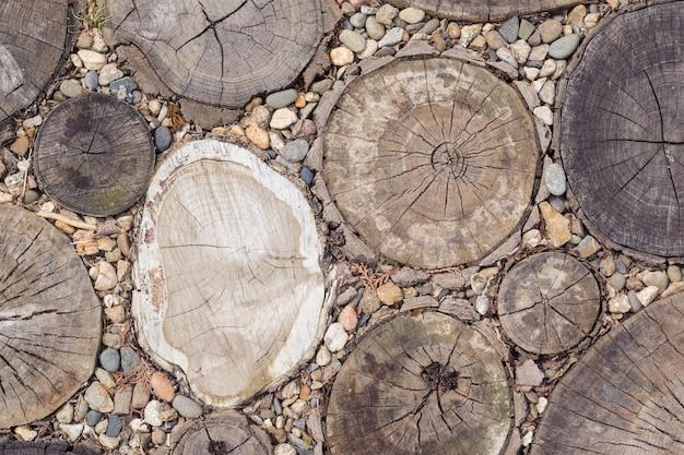Achtergrond van gezaagde bomen met kleine stenen.