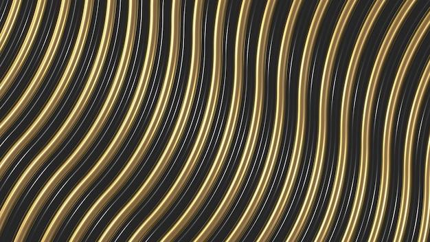 Achtergrond van goud en zwarte lijnen 3d render