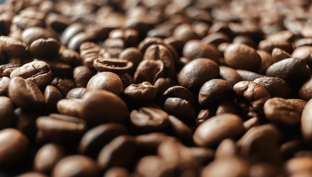 Achtergrond van koffiebonen, gebrande koffiebonen
