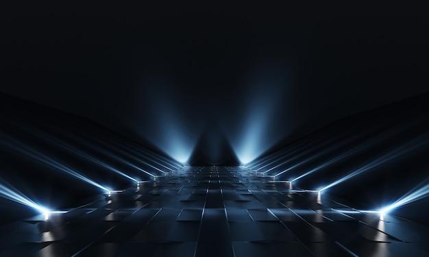 Achtergrond van leeg donker podium met blauwe lichten en tegelvloer. 3d-weergave