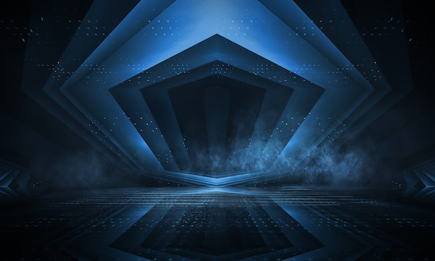 Achtergrond van lege show. neonlicht en lasershow. laser futuristische vormen op een donkere achtergrond. blauw neonlicht, symmetrische reflectie