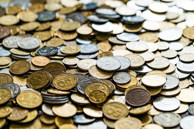 Achtergrond van munten. munten sluiten omhoog