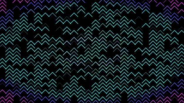 Achtergrond van neon pijlen kleine pijlen schijnen op abstracte achtergrond met gekleurde zigzags