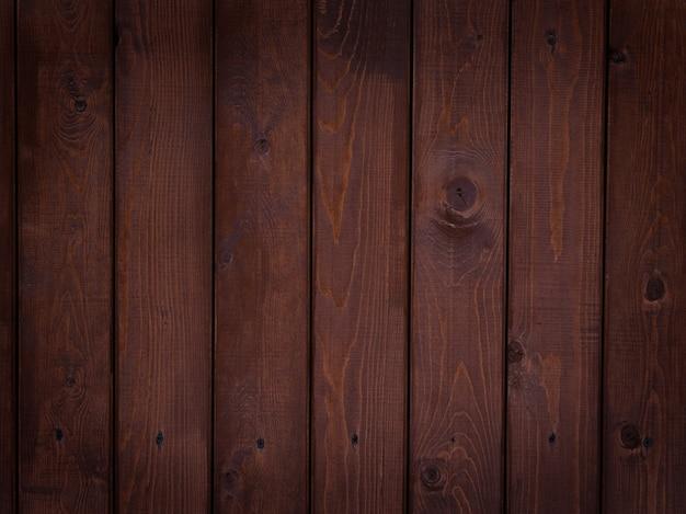 Achtergrond van planken geschilderd met bruine verf, textuur van natuurlijk hout met een natuurlijk patroon, lege horizontale compositie, donker