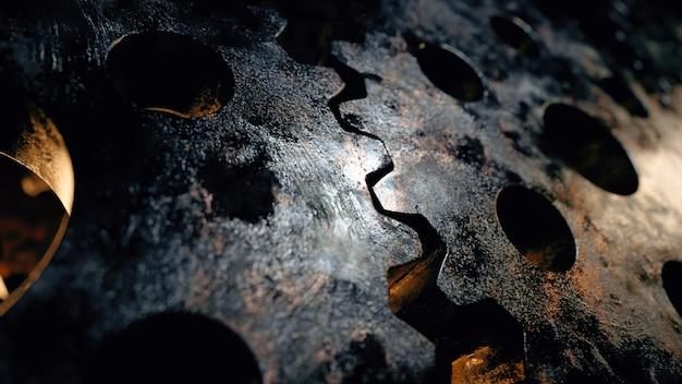 Achtergrond van roterende metalen mechanismen. werkstroom concept.
