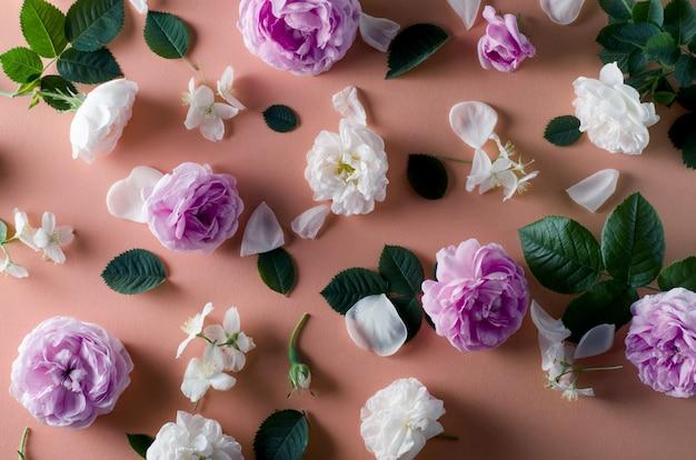 Achtergrond van thee rozen bloemen op een zachte roze achtergrond. plat lay-sjabloon.