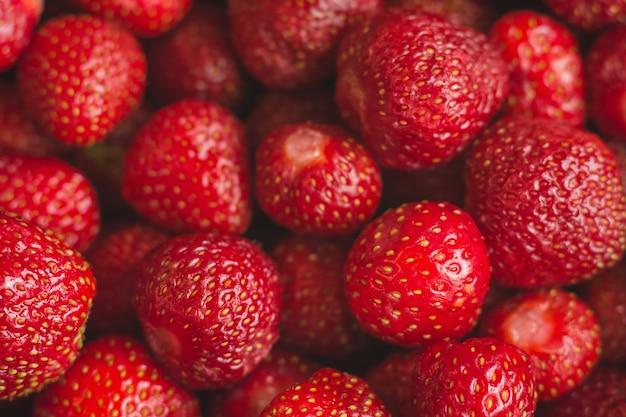 Achtergrond van vers geoogste aardbeien, full frame.