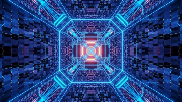 Achtergrond van verschillende blauwe en gele lichten die in beweging in één richting stromen