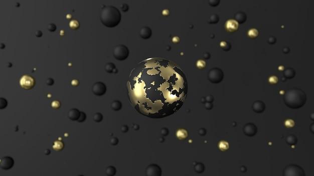Achtergrond van zwarte en gouden bollen 3d render