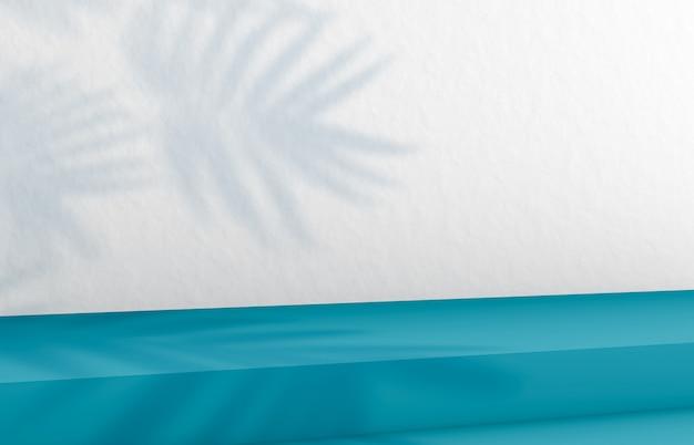 Achtergrond voor cosmetische productvertoning. mode-achtergrond met blauwe trap. 3d-rendering.