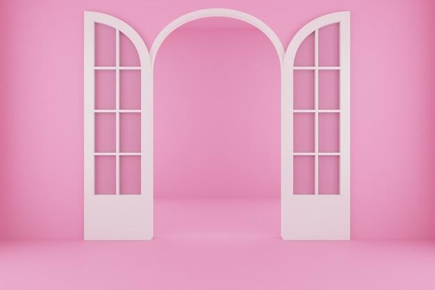 Achtergrond voor roze kamer met open deur. 3d-weergave