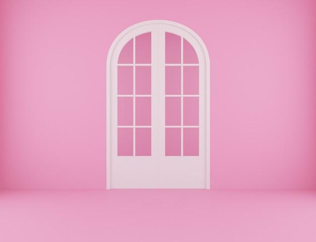 Achtergrond voor roze kamer met witte deur. 3d-weergave