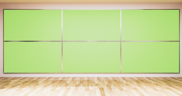 Achtergrond voor tv-programma's tv op de muur, lege kamer nieuwsstudio en achtergrond tv groen scherm