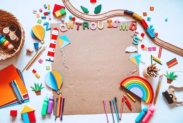 Achtergrond voor voorschoolse of kleuterschool of kunstlessen