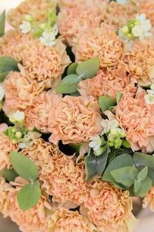 Achtergrondafbeelding van een boeket beige anjers oxypetalum en eucalyptus romantische bloemen close-up
