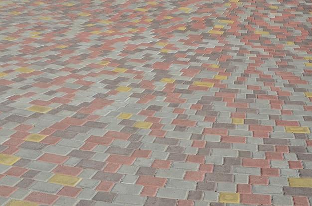 Achtergrondfotoclose-up van een groot platform van straatsteen in perspectief