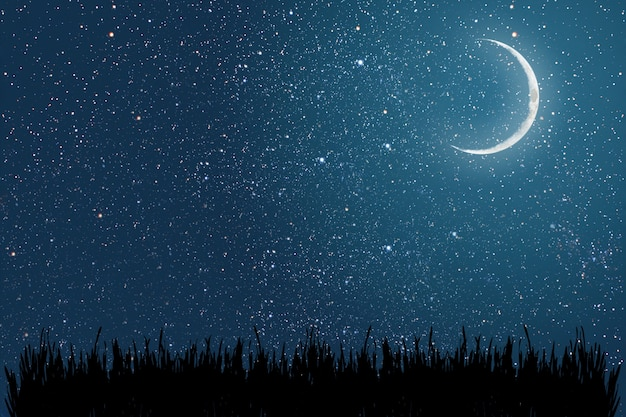 Achtergrondnachtelijke hemel met sterren en maanelementen