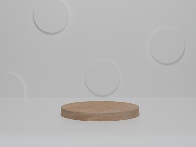 Achtergrondproducten minimaal houten podium op wit platform. abstract minimalisme met witte achtergrond. 3d render, 3d illustratie