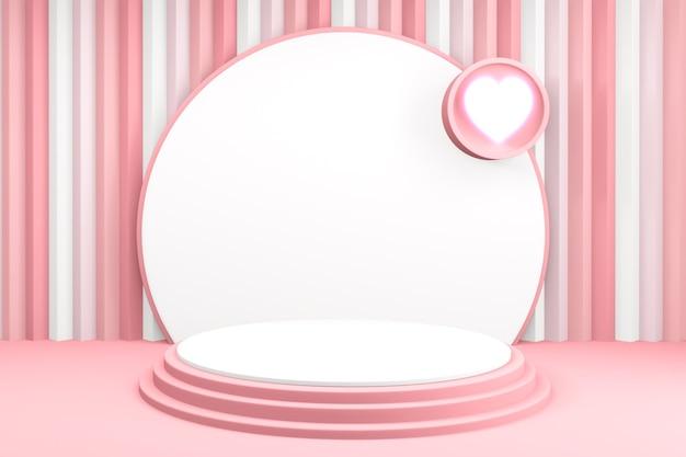 Achtergrondproducten valentijnspodium in liefdeplatform, valentine roze podium minimaal ontwerp. 3d rendering