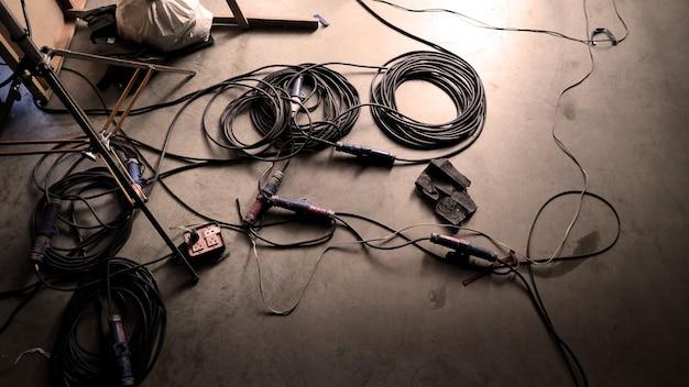 Achtergrondstudiovloer van filmen of maken van videoproductie met professionele apparatuur