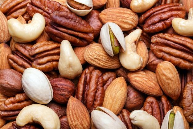 Achtergrondtextuur van geassorteerde gemengde noten