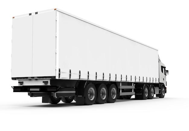 Achterkant van een grote witte vrachtwagen