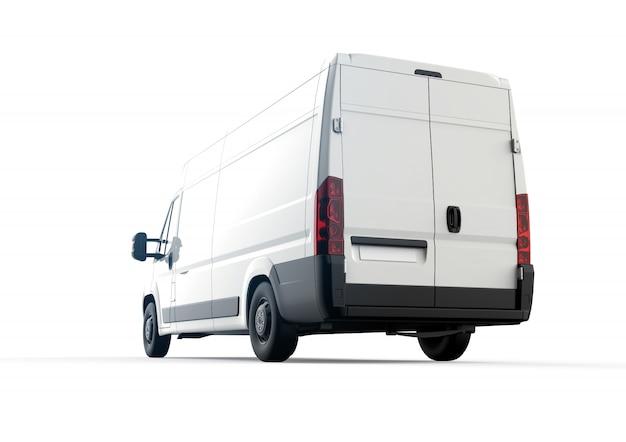 Achterkant van een witte vrachtwagen