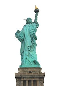 Achterkant van het vrijheidsbeeld in new york, geïsoleerd op een witte achtergrond