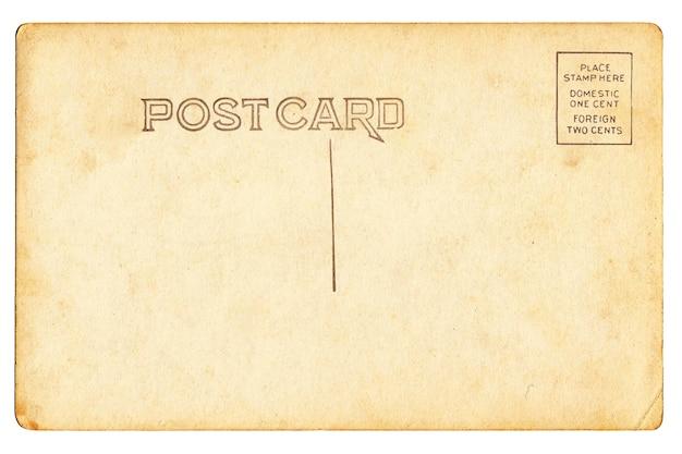 Achterkant van vintage leeg briefkaart