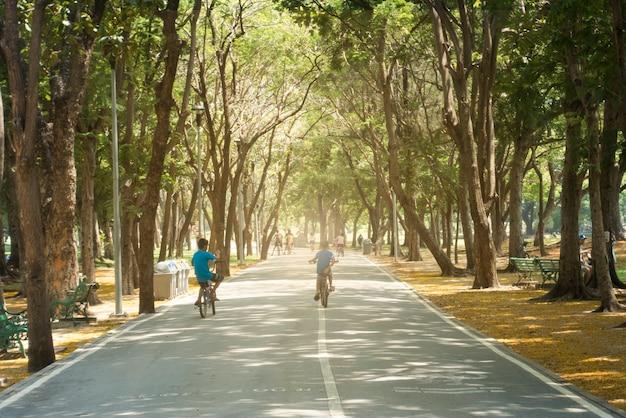 Achtermening van jong kind die op fiets in het stadspark berijden.