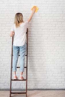 Achtermening van vrouwen schoonmakende bakstenen muur op een ladder