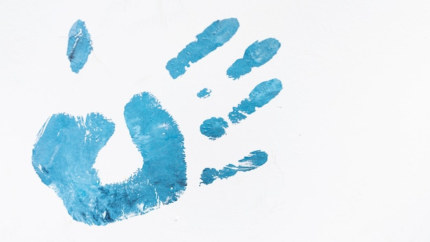 Acryl blauwe menselijke die palmprint op witte achtergrond wordt geïsoleerd