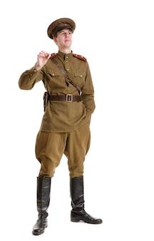 Acteur gekleed in militaire uniformen de tweede wereldoorlog