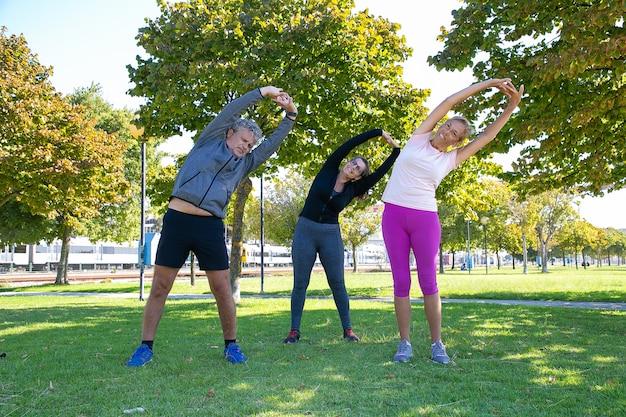 Actieve sportieve volwassen mensen doen ochtendoefening in park, staande op gras en buigende boomstammen. pensioen of actief levensstijlconcept