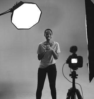 Actrice voor de camera tijdens een auditie