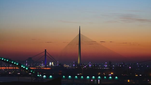 Ada-brug over de sava-rivier bij zonsondergang in belgrado, servië