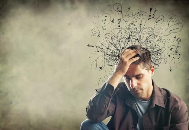 Addhd stress angst volwassen harde man puinhoop