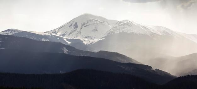 Adembenemend panoramisch uitzicht op prachtige mistige karpaten, bedekt met altijd groen bos op mistige rustige ochtend of avond onder donkere bewolkte hemel. bergen sneeuw bedekte toppen op afstand.