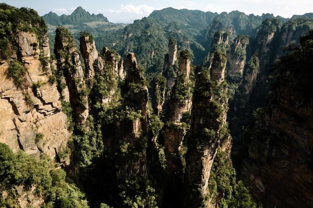 Adembenemende opname van hoge stenen bedekt met bomen met bergoppervlak