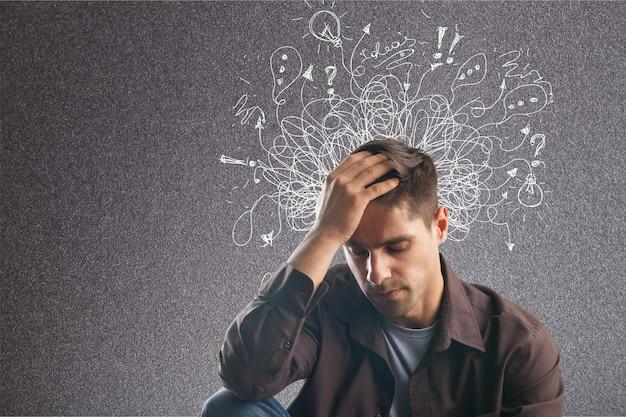 Adhd stress angst volwassen harde man puinhoop