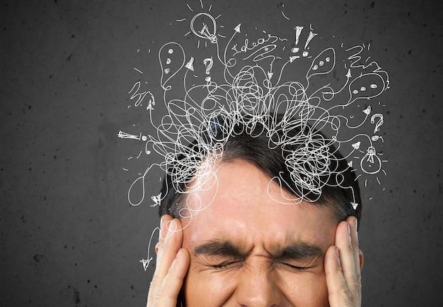 Adhd, stress en angst, volwassen man in de war