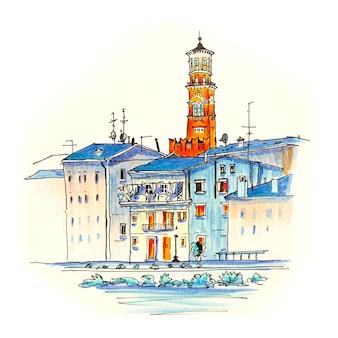 Adige river embankment en tower lamberti, verona, italië. foto gemaakte markeringen