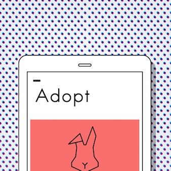 Adopteer dieren beste vrienden konijn icoon