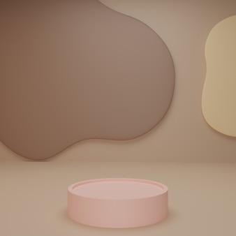 Adorably gebogen achtergrond met roze cirkelstandaard