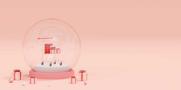 Advertentie banner achtergrond voor webdesign, boodschappentas en cadeau met winkelwagentje in kristallen bol op roze achtergrond, 3d-rendering