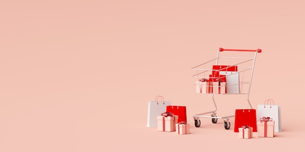 Advertentie banner achtergrond voor webdesign, boodschappentas en cadeau met winkelwagentje op roze achtergrond, 3d-rendering