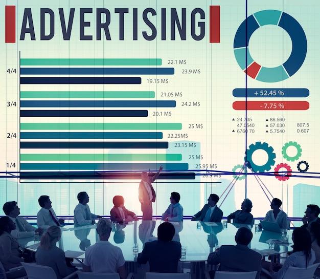 Adverterend digitaal marketing commercieel bevorderingsconcept
